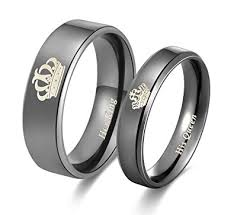 black wedding rings his and hers amazing king his titanium stainless steel