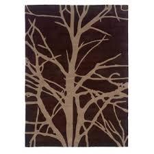 linon trio collection black grey tree silhouette modern area rug