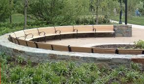 furniture interesting light brown wooden curved bench garden in