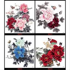 4pcs large color peony flower butterfly designs temporary