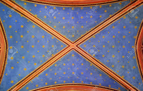 archway church ceiling painted with stars stock photo picture and