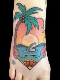palm tree sunset shark by painter tattoonow