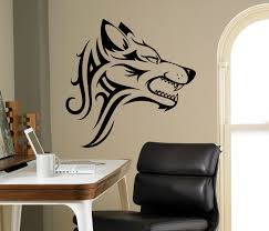 tribal wolf wall decal beast wild animal vinyl sticker home zoom