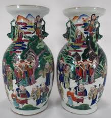 Chinese Hand Painted Porcelain Vases Of Asian Hand Painted Tall Porcelain Vases