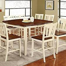 cherry kitchen table set amazon com dover transitional style white cherry finish 7 piece