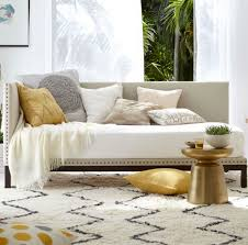 Modern Daybed Sofa Modern Padded Daybed Sofa Feat Gold Tray Table On Captivating Area