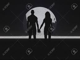 couple holding hands silhouette pencil sketch stock photo picture