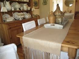 Burlap Dining Chairs Decor Dark Wood Dining Table With Burlap Table Runner And Parson
