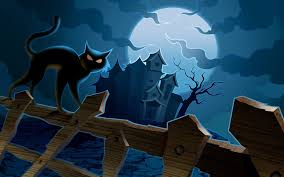 cat near the haunted castle