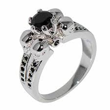 black sapphires rings images Skull wedding ring 10kt white gold filled black sapphire crystal jpg