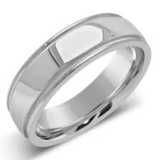 mens wedding bands white gold 14k solid white gold s wedding band with milgrain m114