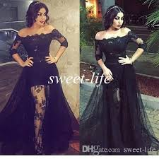 black lace prom dresses off the shoulder high low see through with