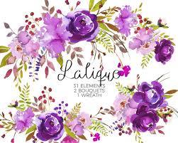 floral bouquets purple watercolor flowers clipart set wedding floral bouquets