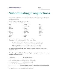 subordinating conjunctions worksheets fioradesignstudio