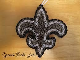 quilled new orleans saints nfl football fleur de lis logo