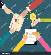 business exchange ideas brainstorm hands on stock vector 438942787