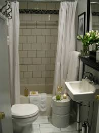 small bathroom decoration with white shower curtain above white