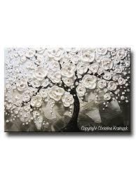 contemporary art by christine original abstract modern paintings home custom original art abstract painting white flowering cherry tree textured blue grey taupe christine krainock