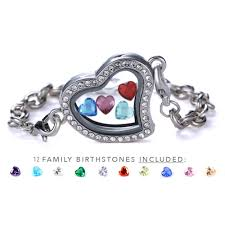 heart bracelet charms images Inside my heart quot floating charms bracelet 12 birthstones proudlyme png