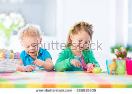 Decorating Easter Eggs Toddlers by Mother Children Painting Colorful Eggs Mom Stock Photo 358100336