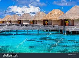 luxury beach resort on maldives many stock photo 187000727