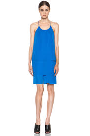 acne studios satya tape dress in klein blue fwrd