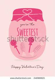 candy s day card happy valentines day card candy jar stock vector 248989021
