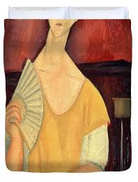 modigliani woman with a fan modigliani duvet covers fine art america