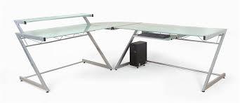 Pc Corner Desk Contemporary L Shaped 3 Pc Corner Desk W Glass Tops Z Deluxe