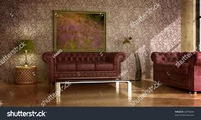 classic rustic country style interior green stock illustration