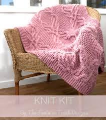 Knit Home Decor Cable Lap Blanket Kit Cable Knit Kit Chunky Knitting Kit