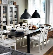 casual dining room design with extendable dinner table ikea white