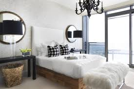 Bedroom Chandelier Lighting Scandinavian Bedroom Ideas With Shaped Mirrors And Black