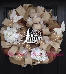 Live Laugh Love Signs Burlap Deco Mesh Wreath In Neutral Colors With Live Laugh Love