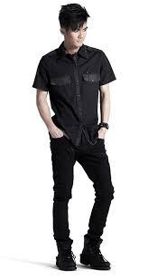 men u0027s black studded shirt