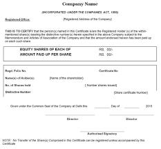 shareholder certificate sample