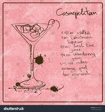 cosmopolitan recipe illustration hand drawn sketch cosmopolitan cocktail stock vector