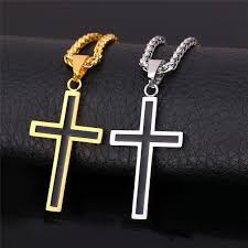 gold jewelry cross necklace images Mens cross necklace pendant christian jewelry gold plated chain jpg