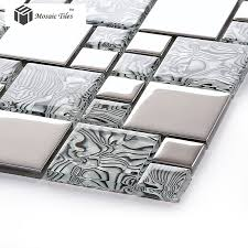 Crystal Glass Tile Zebra Design Innovation Bathroom Wall Fireplace - Glass and metal tile backsplash