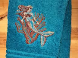 mermaid and coral towel embroidered nautical hand towels ocean