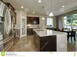 Kitchen Islands Large Large Kitchen Island In Modern Open Plan Kitchen Stock Photo