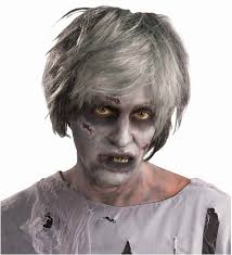 zombie short womens gray black hair wig halloween costume