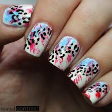 cute animal print nail designs in bright summer colors style