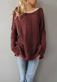wine plain neck sleeve pullover sweater pullovers