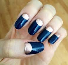 blue nails with silver half moon nail