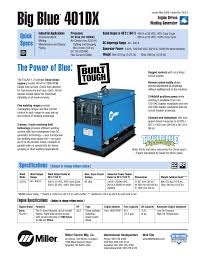 miller electric big blue 401dx cc user manual 4 pages