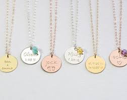 name and birthstone necklace kids name necklace etsy