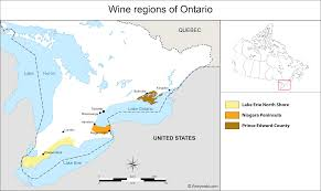 Map Of Ontario Canada by Canada Map Of Vineyards Wine Regions