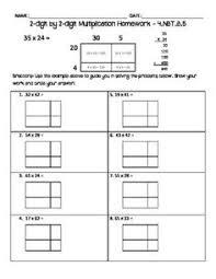 freebie 4 nbt 5 area model multiplication worksheet 2 digit x 2