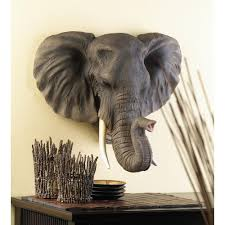 African Safari Home Decor Wholesale Large Elegant Realistic African Noble Elephant Head